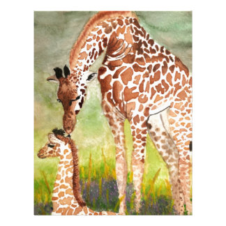 Jirafas de la madre y del bebé membrete a diseño
