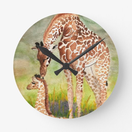 Jirafas de la madre y del bebé reloj redondo mediano