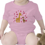 Jirafas de la mamá y del bebé traje de bebé