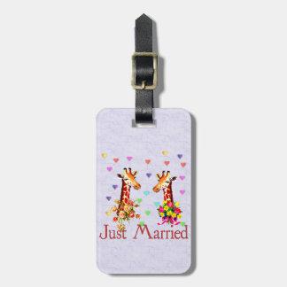 Jirafas del boda etiquetas bolsa