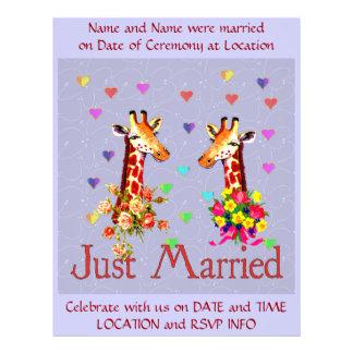 Jirafas del boda flyer a todo color