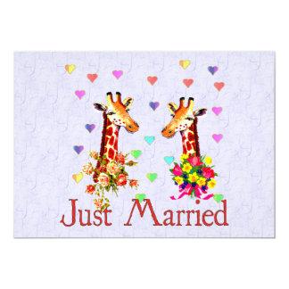 Jirafas del boda invitación 12,7 x 17,8 cm