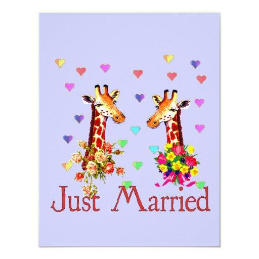 """Jirafas del boda invitación 4.25"""" x 5.5"""""""