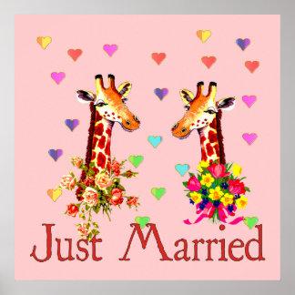 Jirafas del boda posters