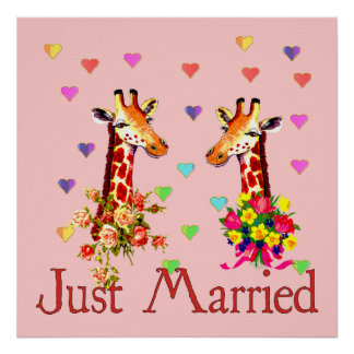 Jirafas del boda póster