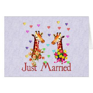 Jirafas del boda tarjeta de felicitación