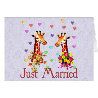 Jirafas del boda tarjeta pequeña