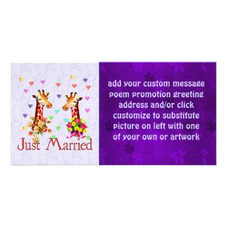 Jirafas del boda tarjeta personal con foto