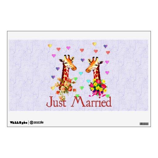 Jirafas del boda vinilo decorativo