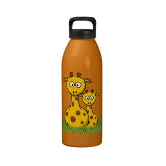 jirafas del dibujo animado botella de agua