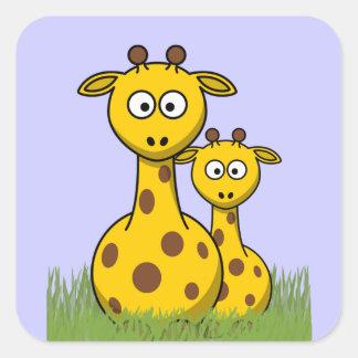 jirafas del dibujo animado pegatina cuadrada