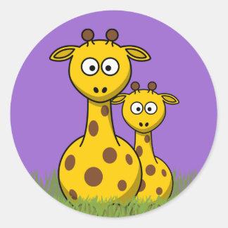 jirafas del dibujo animado pegatina redonda