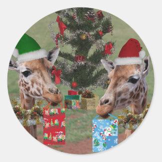 Jirafas del navidad pegatina redonda