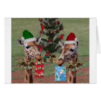 Jirafas del navidad tarjeta de felicitación