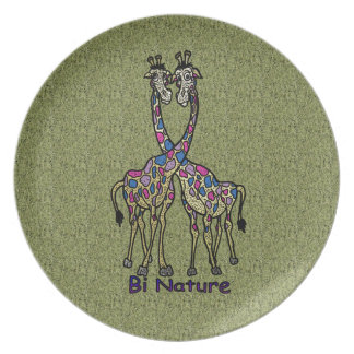 Jirafas del punto del orgullo del BI de la natural Platos