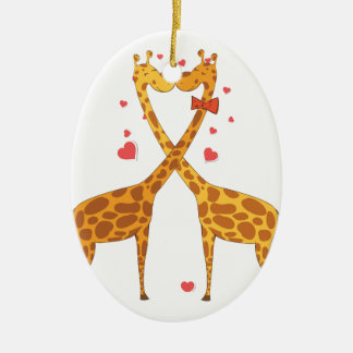 Jirafas en amor ornaments para arbol de navidad