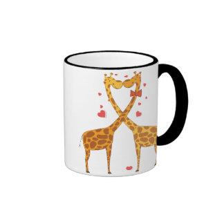 Jirafas en amor taza de café