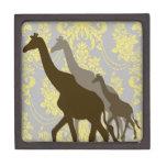 Jirafas en el damasco floral - amarillo y gris cajas de regalo de calidad