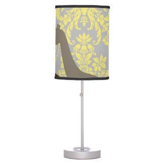 Jirafas en el damasco floral - amarillo y gris lámpara de mesa