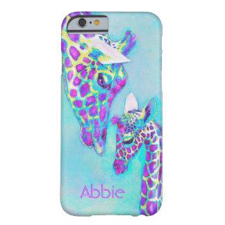 jirafas-moma y bebé púrpuras funda para iPhone 6 barely there
