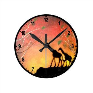 Jirafas Reloj Redondo Mediano