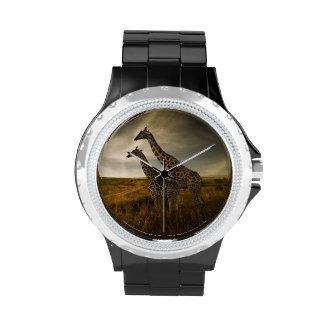 Jirafas y el paisaje relojes de pulsera