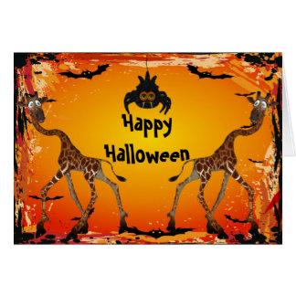 Jirafas y tarjeta divertidas de Halloween de la ar