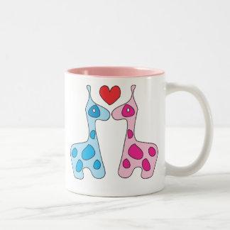 Jiraffe's love Two-Tone coffee mug