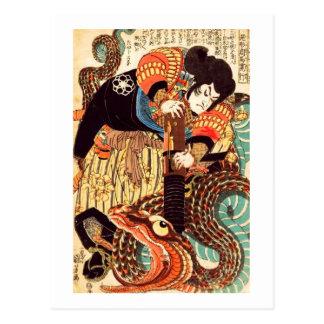 Jiraiya and Snake Vintage Japanese Ukiyoe Postcard