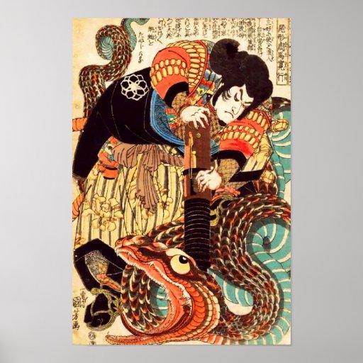 Jiraiya and Snake Vintage Japanese Ukiyoe Print