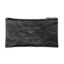 Jitaku Do Nothing Black Wrinkled Cosmetic Bag