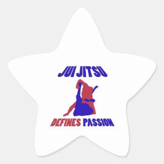 jitsu brasileño del jiu calcomanías forma de estrella personalizadas