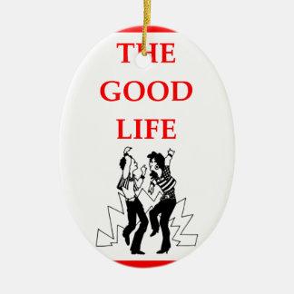 jitterbug adorno navideño ovalado de cerámica