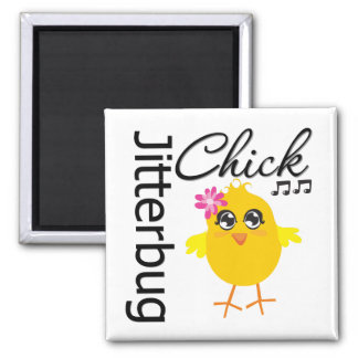 Jitterbug Chick 2 Inch Square Magnet