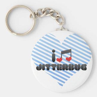 Jitterbug fan basic round button keychain