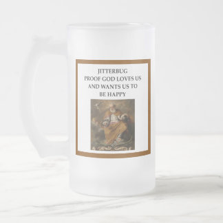 jitterbug frosted glass beer mug