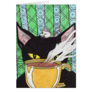 Jitters the caffeinated Cat-Greeting card