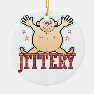Jittery Fat Man Ceramic Ornament