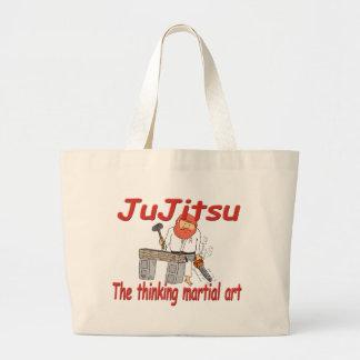 Jiu-jitsu 363 que piensa el dibujo animado del bolsas lienzo
