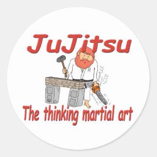 Jiu-jitsu 363 que piensa el dibujo animado del pegatina redonda