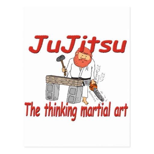 Jiu-jitsu 363 que piensa el dibujo animado del tarjetas postales