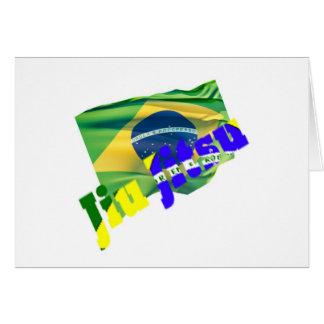 Jiu Jitsu con la bandera del Brasil Tarjeta De Felicitación