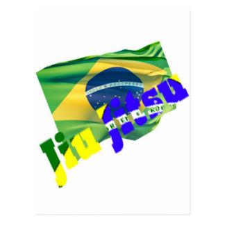 Jiu Jitsu con la bandera del Brasil Tarjeta Postal