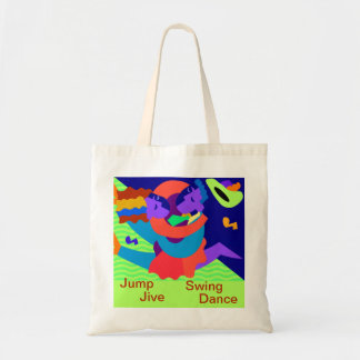 Jive and jazz dance couple and text on a tote bag
