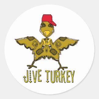 jive turkey round sticker