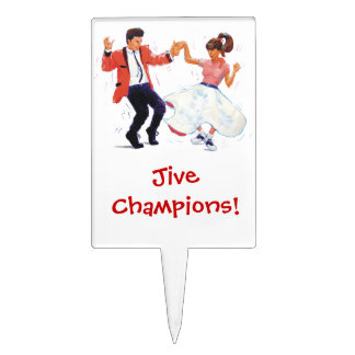 Jivers Classic 1950s Rock and Roll Dancing Cartoon Cake Topper