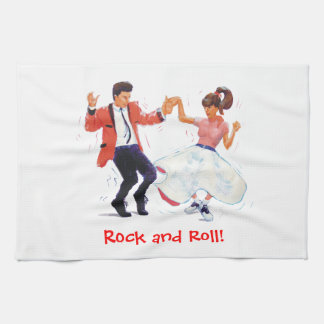 Jivers Classic 1950s Rock and Roll Dancing Cartoon Kitchen Towels