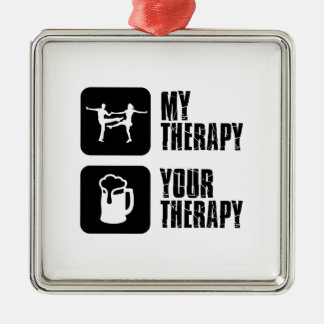 jives my therapy square metal christmas ornament