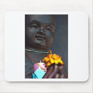 Jizo Buddha with Marigold Offering Mouse Pad