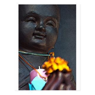 Jizo Buddha with Marigold Offering Postcard